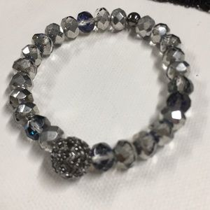 Jewelry - Silver crystal Bracelet with gunmetal accents